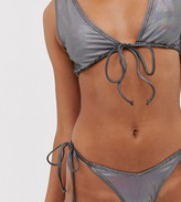 South Beach Exclusive extreme tie up bikini bottom in metallic shine