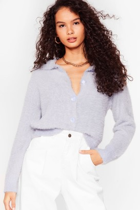 Nasty Gal Womens The Soft Parade Fluffy Knit Button-Down Cardigan - Blue