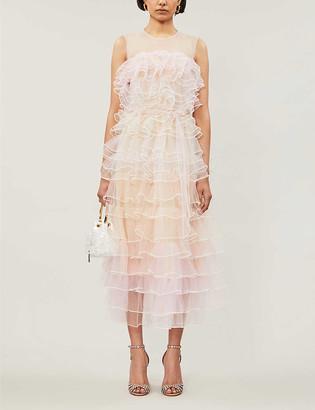 Huishan Zhang Bonnie tiered ruffled mesh gown