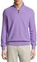 Ralph Lauren Wool-Cashmere Quarter-Zip Sweater, Lavender