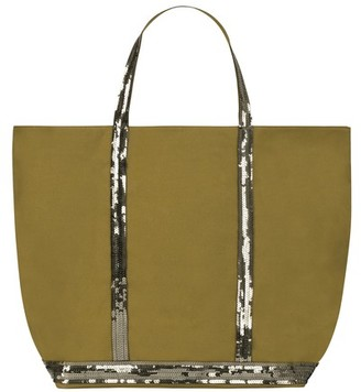 Vanessa Bruno Large Canvas and Sequins Cabas Tote Bag