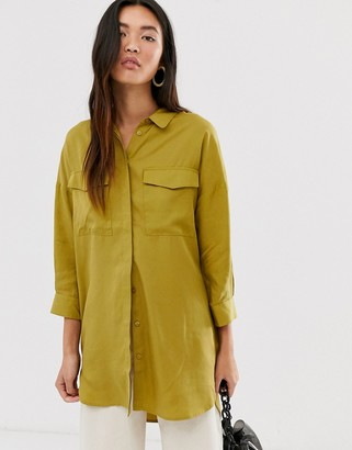 Selected oversized woven shirt with pocket detail