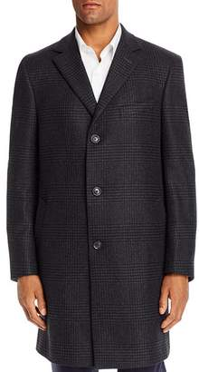Jack Victor Tonal Plaid Wool & Cashmere Regular Fit Topcoat