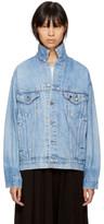 R 13 Blue Levis Edition Repurposed Back Zip Denim Trucker Jacket