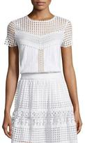 Diane von Furstenberg Lauryn Short-Sleeve Plisse Top, White