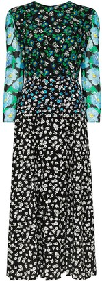 Rixo Multi-Panel Print Silk Dress