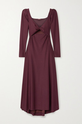 Johanna Ortiz Philosophy Twist-front Cutout Stretch-jersey Midi Dress - Burgundy