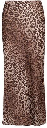 Rixo Kelly leopard-print slip midi skirt
