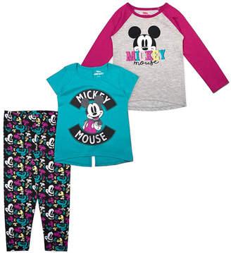 Children's Apparel Network Girls' Leggings - Mickey Mouse Pink & Gray Raglan Tee Set - Toddler