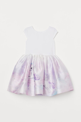 H&M Dress with Flared Skirt - White