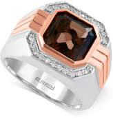 Effy Gento by Smoky Quartz (3-7/8 ct. t.w.) and Diamond (1/6 ct. t.w.) Ring in 14k Rose and White Gold