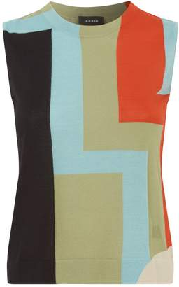 Akris Printed Cashmere-Silk Knitted Tank Top