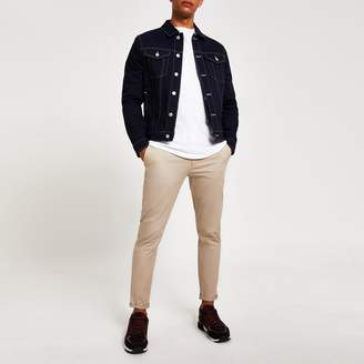 River Island Mens Navy contrast stitch classic fit jacket