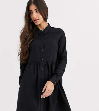 Asos Tall DESIGN Tall cotton mini smock shirt dress-Black
