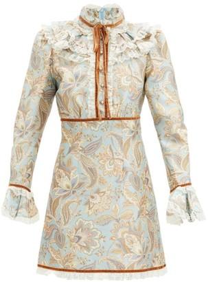 Zimmermann Ladybeetle Floral-print Wool-blend Mini Dress - Blue Multi