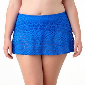 Catalina Women's Plus Solid Crochet Skirted Swimsuit Bottom