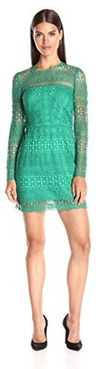 Cynthia Rowley Women's Lace Shift Dres with Sheer Yoke and Sleeves
