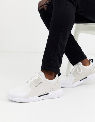 Tommy Hilfiger corporate stripe back leather cupsole trainers in white