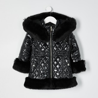 River Island Mini girls Black faux fur hem puffer coat