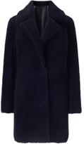 Jigsaw Italian Shearling Reversible Coat, Navy