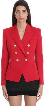 Balmain Blazer In Red Cotton