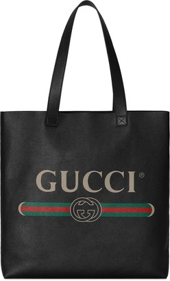 Gucci Logo-Print Leather Tote Bag