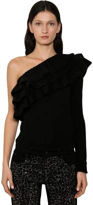 Philosophy di Lorenzo Serafini ONE SHOULDER RUFFLED TECHNO KNIT SWEATER