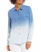 Vince Camuto Two by Long Sleeve Dip Dye Collared Two Pocket Tunic