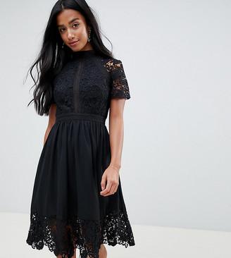 Chi Chi London Petite lace detail skater dress in black