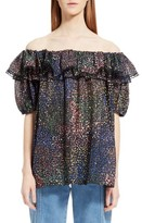 Chloé Women's Metallic Silk Off The Shoulder Top