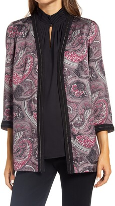Ming Wang Paisley Contrast Trim Open Front Jacket