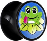 Body Candy Black Acrylic Cartoon Frog Lily Pad Saddle Plug Pair 4 Gauge