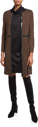 Misook Petite Long Jacket with Faux Leather Trim