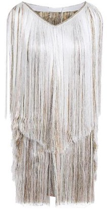 Missoni Fringed Metallic Crochet-knit Halterneck Mini Dress