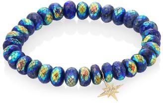 Sydney Evan Lapis, Diamond & 14K Gold Rondelle Starburst Bracelet