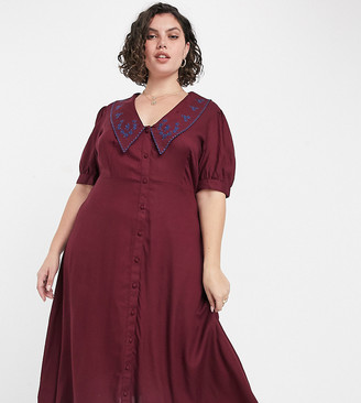 ASOS DESIGN Curve button-through midi tea dress with embroidered peter pan collar in rust
