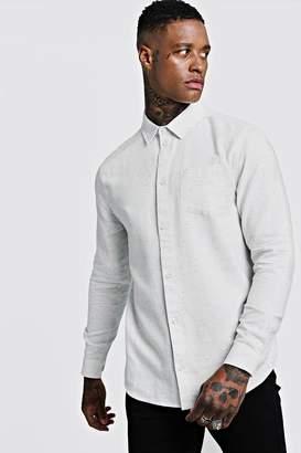 BoohoomanBoohooMAN Mens White Cotton Slub Long Sleeve Shirt, White
