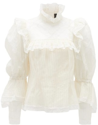 MARC JACOBS, RUNWAY Marc Jacobs Runway - Lace-trimmed Silk-organza Blouse - Ivory