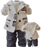 WEONEDREAM Little Infant Boys 3pcs Clothes Sets Shirts + Jacket + Jean Pants (New Beige,3T)
