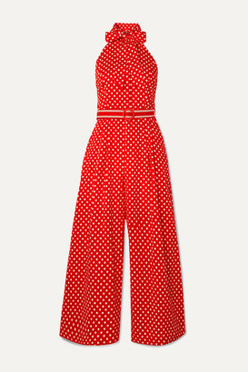 Zimmermann Zinnia Halterneck Polka-dot Linen And Cotton-blend Voile Jumpsuit - Red