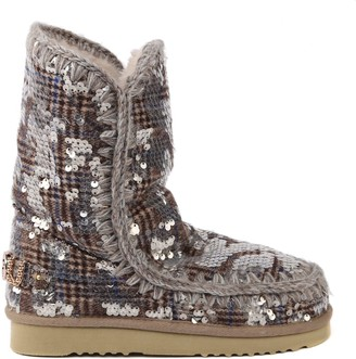 Mou Eskimo 24 Tartan Boots Covered With Sequins