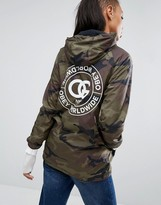 Obey Hooded Camo Coaches Jacket With Back Print