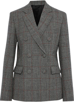 Helmut Lang Double-breasted Prince Of Wales Checked Wool Blazer