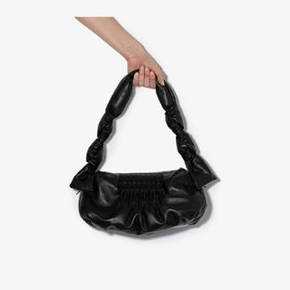 Miu Miu Black Knot Detail Matelasse Leather Shoulder Bag