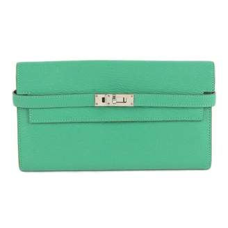 Hermes Kelly Green Leather Wallets