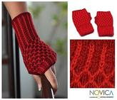 Collectible Alpaca Wool Patterned Fingerless Gloves, 'Holly Berry'