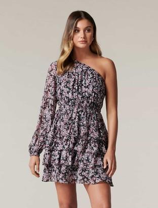 Forever New Priya Ruffle One-Shoulder Mini Dress - Blush Giverny Ditsy - 10
