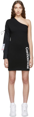 Marcelo Burlon County of Milan Black One Shoulder Dress