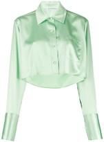Alexander Wang Shine Wash and Go cropped satin blouse
