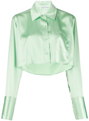 Alexander Wang Shine Wash and Go cropped satin blouse